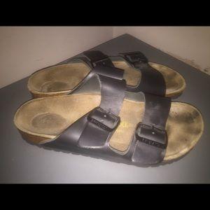 Birkenstock sandals Sz 38 L 7 black leather